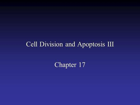 Cell Division and Apoptosis III Chapter 17. Activation of a cyclin dependent kinase.