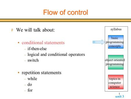 Unit 3 1 Flow of control H We will talk about: conditional statements  if-then-else  logical and conditional operators  switch repetition statements.