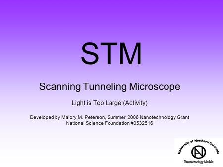 STM Scanning Tunneling Microscope Light is Too Large (Activity) Developed by Malory M. Peterson, Summer 2006 Nanotechnology Grant National Science Foundation.