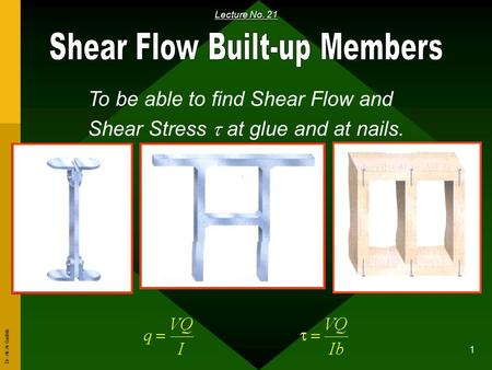 Dr. Ali Al-Gadhib 1 Lecture No. 21 To be able to find Shear Flow and Shear Stress  at glue and at nails.