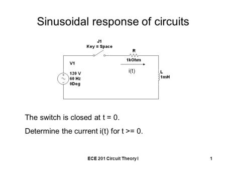 ECE 201 Circuit Theory I1 Sinusoidal response of circuits The switch is closed at t = 0. Determine the current i(t) for t >= 0. i(t)