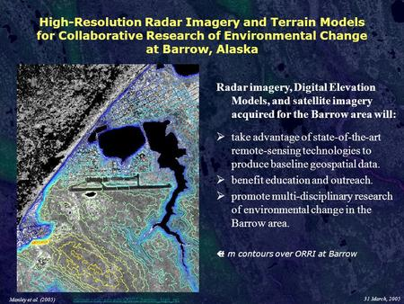 High-Resolution Radar Imagery and Terrain Models for Collaborative Research of Environmental Change at Barrow, Alaska Radar imagery, Digital Elevation.