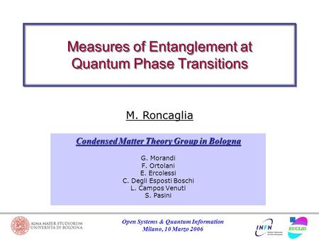 Open Systems & Quantum Information Milano, 10 Marzo 2006 Measures of Entanglement at Quantum Phase Transitions M. Roncaglia G. Morandi F. Ortolani E. Ercolessi.
