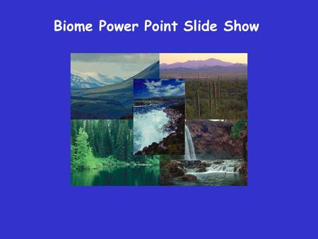 Biome Power Point Slide Show. Title Slide This slide should include the name of your Biome. Don't forget the names of your group members. All text should.