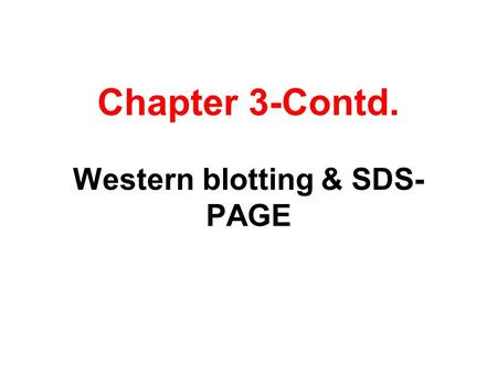 Chapter 3-Contd. Western blotting & SDS-PAGE