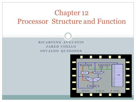 RICARFENS AUGUSTIN JARED COELLO OSVALDO QUINONES Chapter 12 Processor Structure and Function.