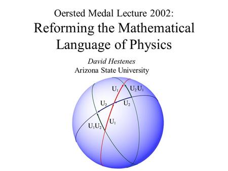 Oersted Medal Lecture 2002: Reforming the Mathematical Language of Physics David Hestenes Arizona State University.