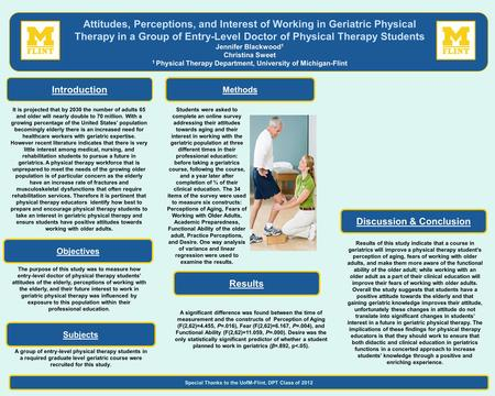 The purpose of this study was to measure how entry-level doctor of physical therapy students' attitudes of the elderly, perceptions of working with the.