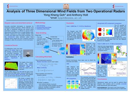 Analysis of Three Dimensional Wind Fields from Two Operational Radars Yong Kheng Goh* and Anthony Holt *  Doppler radar and wind-field.