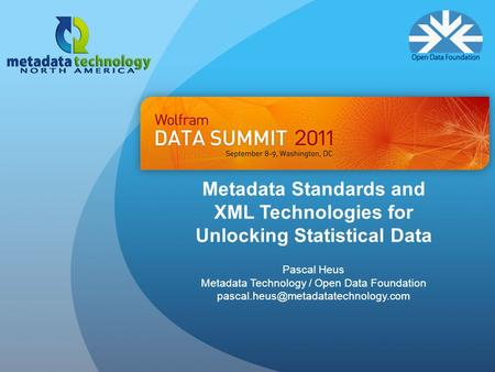 Metadata Standards and XML Technologies.
