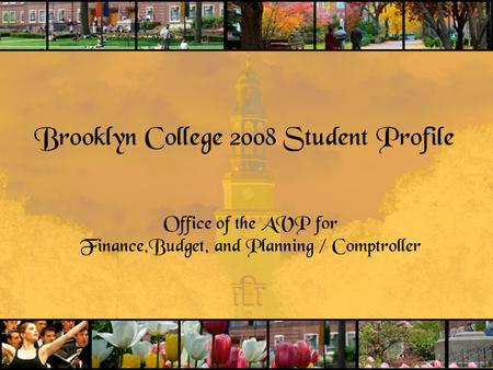 Brooklyn College 2008 Student Profile Office of the AVP for Finance,Budget, and Planning / Comptroller.