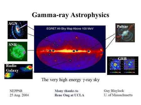 Gamma-ray Astrophysics Pulsar GRB AGN SNR Radio Galaxy The very high energy  -ray sky NEPPSR 25 Aug. 2004 Guy Blaylock U. of Massachusetts Many thanks.