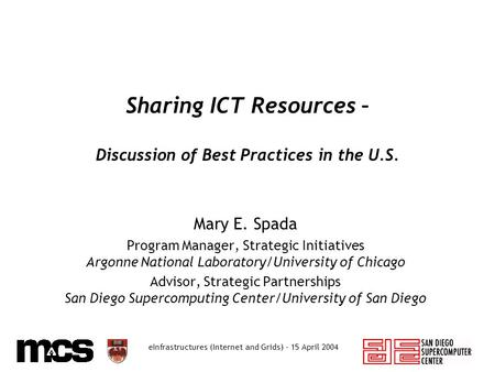 EInfrastructures (Internet and Grids) - 15 April 2004 Sharing ICT Resources – Discussion of Best Practices in the U.S. Mary E. Spada Program Manager, Strategic.
