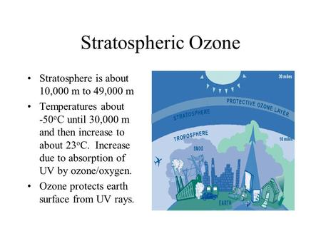 Stratospheric Ozone Stratosphere is about 10,000 m to 49,000 m Temperatures about -50 o C until 30,000 m and then increase to about 23 o C. Increase due.