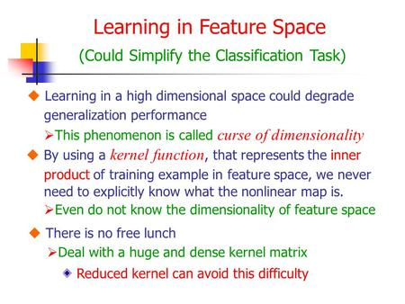 Learning in Feature Space (Could Simplify the Classification Task)  Learning in a high dimensional space could degrade generalization performance  This.