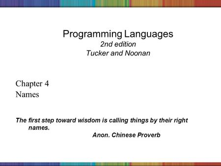 Copyright © 2006 The McGraw-Hill Companies, Inc. Programming Languages 2nd edition Tucker and Noonan Chapter 4 Names The first step toward wisdom is calling.