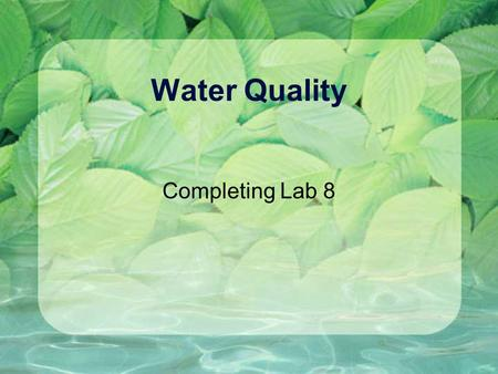 Water Quality Completing Lab 8. Reminder - What's Due for Lab 8 Full Lab Report (One per Group) (a)Title & Abstract start with catchy title and list of.