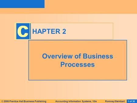 © 2006 Prentice Hall Business Publishing Accounting Information Systems, 10/e Romney/Steinbart1 of 38© 2008 Prentice Hall Business Publishing Accounting.