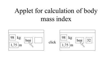 Click 98 bmi 1,75 kg m 98 bmi 1,75 kg m 32 Applet for calculation of body mass index.