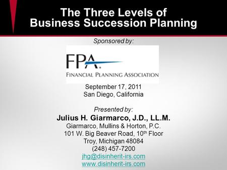 The Three Levels of Business Succession Planning