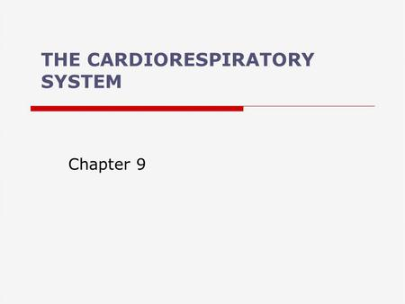 THE CARDIORESPIRATORY SYSTEM Chapter 9. Cardiorespiratory System  What are the functions of the cardiorespiratory system? –Transport O 2 to tissues and.