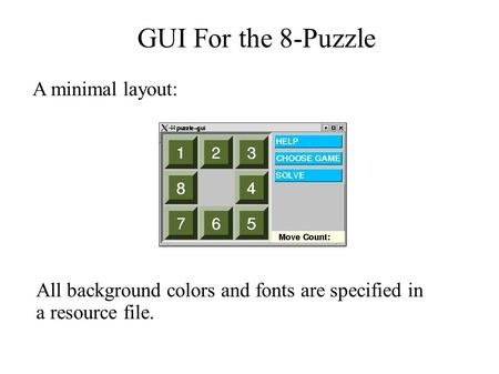 GUI For the 8-Puzzle A minimal layout: All background colors and fonts are specified in a resource file.