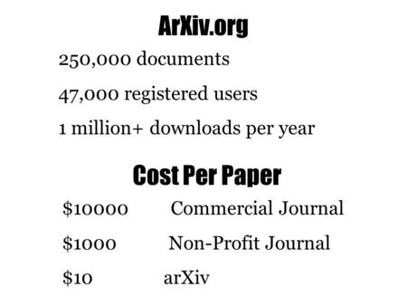 ArXiv.org 250,000 documents 47,000 registered users 1 million+ downloads per year Cost Per Paper $10000 Commercial Journal $1000 Non-Profit Journal $10.