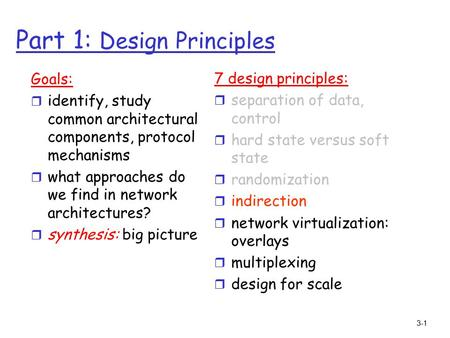 3-1 Part 1: Design Principles Goals: r identify, study common architectural components, protocol mechanisms r what approaches do we find in network architectures?