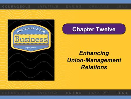 Chapter Twelve Enhancing Union-Management Relations.