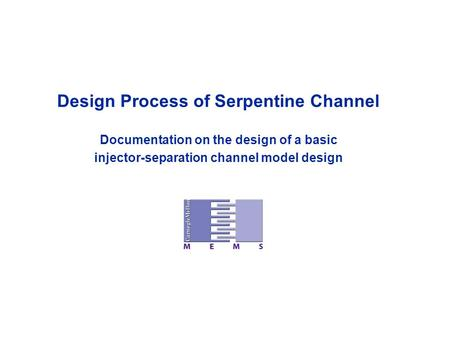 Design Process of Serpentine Channel Documentation on the design of a basic injector-separation channel model design.