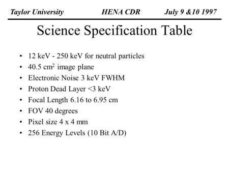 Science Specification Table 12 keV - 250 keV for neutral particles 40.5 cm 2 image plane Electronic Noise 3 keV FWHM Proton Dead Layer <3 keV Focal Length.