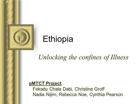Ethiopia Unlocking the confines of Illness pMTCT Project Fekadu Chala Dabi, Christine Groff Nadia Nijim, Rebecca Noe, Cynthia Pearson.