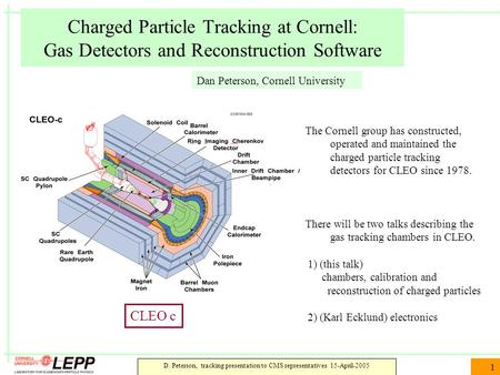 D. Peterson, tracking presentation to CMS representatives 15-April-2005 1 Charged Particle Tracking at Cornell: Gas Detectors and Reconstruction Software.