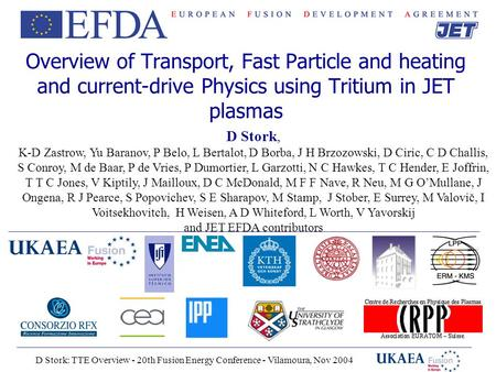 D Stork: TTE Overview - 20th Fusion Energy Conference - Vilamoura, Nov 2004 Overview of Transport, Fast Particle and heating and current-drive Physics.