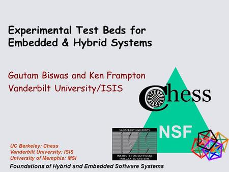 NSF Foundations of Hybrid and Embedded Software Systems UC Berkeley: Chess Vanderbilt University: ISIS University of Memphis: MSI Gautam Biswas and Ken.