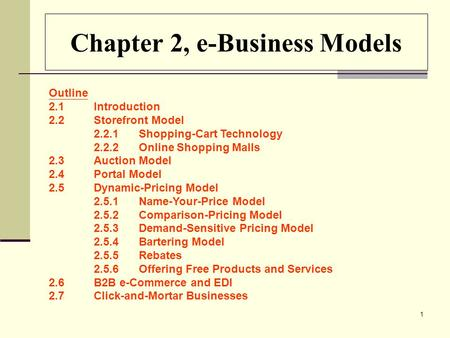 Chapter 2, e-Business Models