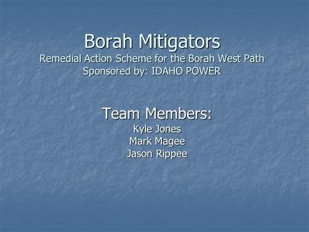 Borah Mitigators Remedial Action Scheme for the Borah West Path Sponsored by: IDAHO POWER Team Members: Kyle Jones Mark Magee Jason Rippee.