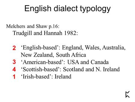 English dialect typology Melchers and Shaw p.16: Trudgill and Hannah 1982: 'English-based': England, Wales, Australia, New Zealand, South Africa 'American-based':