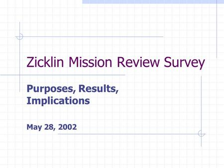 Zicklin Mission Review Survey Purposes, Results, Implications May 28, 2002.