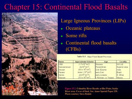 Chapter 15: Continental Flood Basalts Large Igneous Provinces (LIPs) l Oceanic plateaus l Some rifts l Continental flood basalts (CFBs) Figure 15.2. Columbia.