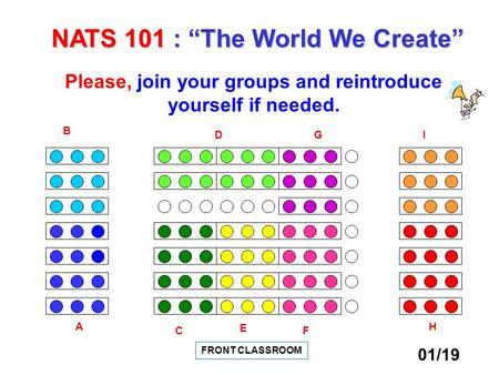 "FRONT CLASSROOM A FC D E B IG H Please, join your groups and reintroduce yourself if needed. NATS 101 : ""The World We Create"" 01/19."