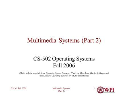 Multimedia Systems (Part 2)