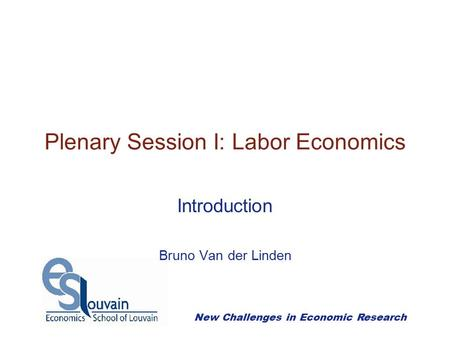 New Challenges in Economic Research Plenary Session I: Labor Economics Introduction Bruno Van der Linden.
