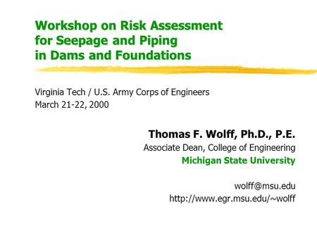 Workshop on Risk Assessment for Seepage and Piping in Dams and Foundations Virginia Tech / U.S. Army Corps of Engineers March 21-22, 2000 Thomas F. Wolff,