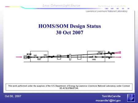 Tom McCarville Oct 30, 2007 HOMS/SOM Design Status 30 Oct 2007 This work performed under the auspices of the U.S. Department of Energy.