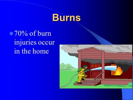 Burns 70% of burn injuries occur in the home. Prevention Smoke alarms Candles (xmas) Pan placement on stoves Fire extinguisher Care around flammable products.