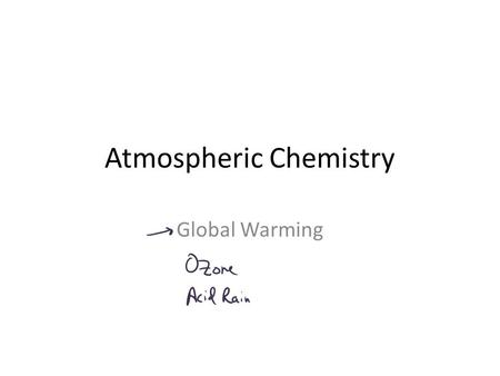 Atmospheric Chemistry Global Warming. GasMole Percent N278.08 O220.95 Ar0.934 CO 2 0.03 O3O3 1.0 x 10 -7 Composition of Atmosphere: