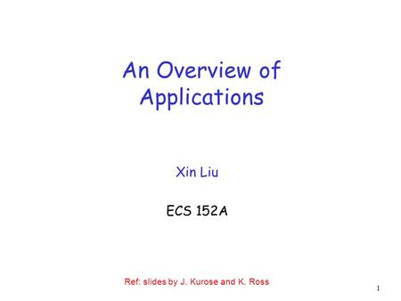 1 An Overview of Applications Xin Liu ECS 152A Ref: slides by J. Kurose and K. Ross.