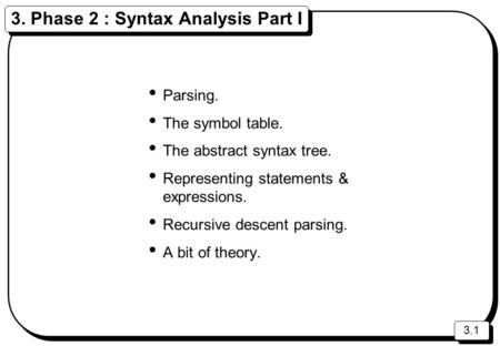 3.1 3. Phase 2 : Syntax Analysis Part I Parsing. The symbol table. The abstract syntax tree. Representing statements & expressions. Recursive descent parsing.