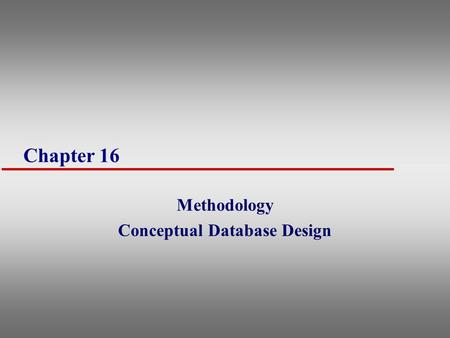 Methodology Conceptual Database Design